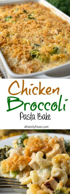 Chicken Broccoli Pasta Bake - Comfort food at it's best! Pasta in a cheesy cream sauce with tender chunks of chicken and broccoli. YUM!