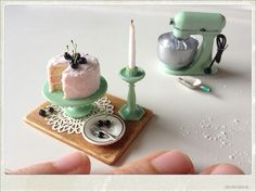 allthesmallthingsminiatures:  Miniature Cherry Cake on a jadeite cake stand by ankanka on Flickr.
