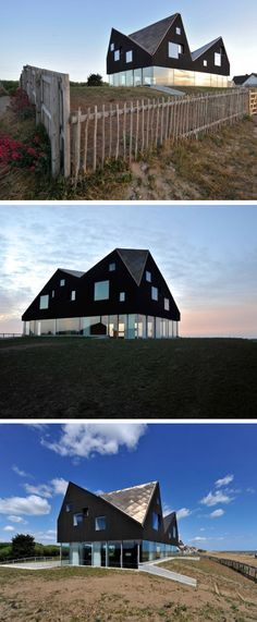 The Dune house in Thorpeness, Suffolk, England. An intriguing architectural form and a fascinating relationship between the ground floor and the first floor. Wow #Contemporist #House #Design #Beach #Modern www.contemporist.com