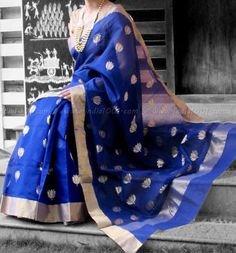 Designer Handcrafted Woven Chanderi Saree | India1001.com
