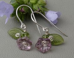 Little Lilac Purple Glass Flower and Leaves by nicholasandfelice, $12.50