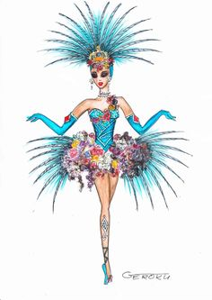 Show Girl Costume Sketch Showgirl Costume, Circus Costume, Burlesque Costumes, Fantasy Costumes, Girl Costumes, Vegas Showgirl, Carnival Dress, Carnival Outfits, Carnival Costumes