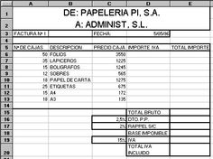 Word - Excel - Access: Ejercicio factura Excel
