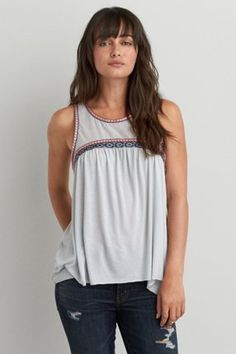 Embroidered High Neck Tank, gray
