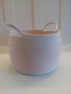 Extra Large Ballet Pink Basket with Handles by PrairieStMercantile