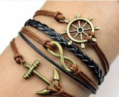 The retro the anchors rudder romantic password three shares pigtail multilayer bracelet  Best Chosen Gift