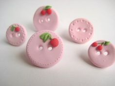 Spring Cherry-- Polymer clay buttons set of five. $17.00, via Etsy.