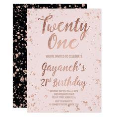 Faux rose gold confetti blush 21st Birthday custom Card