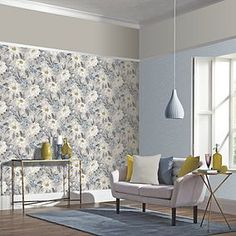 Taking inspiration from English country gardens, this classic floral wallpaper design showcases traditional hand-painted dahlia flowers in lilac, white and grey tones. Deliveries to UK Mainland only. Grey Floral Wallpaper, Wallpaper Uk, Hand Painted Wallpaper, Colorful Wallpaper, Designer Wallpaper, Pattern Wallpaper, White Dahlias, Dahlia Flowers, Blue Flowers