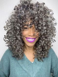 Shoulder-Length Shag Cut Short Grey Hair, Short Hair With Bangs, Curly Hair Cuts, Medium Hair Cuts, Hairstyles With Bangs, Medium Hair Styles, Curly Hair Styles, Medium Curly, Hair Bangs