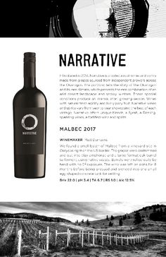 Narrative | 2017 Malbec Tasting Notes from the Okanagan Valley Red Fruit, Wines, Red Wine, Vodka Bottle, Alcoholic Drinks, Conditioner, 8 Months, Concrete, Beautiful