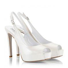 Fratelli Karida - Pearl-white leather high heel platform sling-back... ($140) ❤ liked on Polyvore featuring shoes, pumps, heels, white, high heel pumps, white wedding shoes, white platform pumps, platform pumps and peep-toe pumps