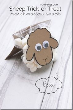 Sheep Trick or Treat (craft, activity, and snack) Eid Crafts, Bible Crafts, Easter Crafts, Diy And Crafts, Crafts For Kids, Sheep Crafts, Frog Crafts, Diy Ostern, Halloween Books