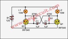 I like a Simple 2 Lamp flasher circuit using MOSFET. Also, it is Astable Multivibrator. When you want a high power lamp flasher. Electronics Projects, Simple Electronics, Electronics Basics, Kids Electronics, Electronics Components, Basic Electronic Circuits, Cool Electronic Gadgets, Electronic News, Electronic Circuit Projects