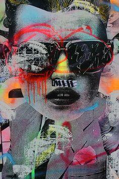 Mixed media mural artwork by Dain #street #art