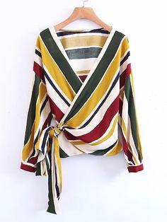 LD Helly Fashion Women Striped Cross Bow Tie Blouse Shirts Elegant V-Neck Long Sleeve Shirt Casual Brand Tops Blusas Feminina Cardigans For Women, Blouses For Women, Bow Tie Blouse, Wrap Blouse, Long Blouse, Long Sleeve Wrap Top, Blouse Styles, Mode Style, Shirt Blouses
