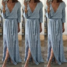 Cheap Dresses, Buy Directly from China Suppliers:Women Ladies Clothing Floral Print Long Sleeve Boho Dress Lady Summer Deep V Neck Party Long Maxi Dress Women