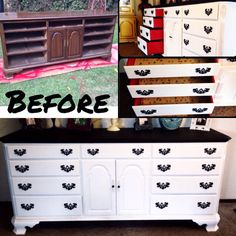 black and white painted dresser with silver hardware contemporary
