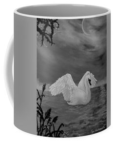 Swan Coffee Mug featuring the drawing Night Bath by Faye Anastasopoulou Fusion Art, Ocean Scenes, Mugs For Sale, My Themes, Basic Colors, Artist At Work, Color Show, Swan, Colorful Backgrounds