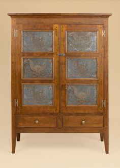 Pie-Safe-Cupboard-Eagle-Tins-Cherry-Wood-Pennsylvania-Dining-Furniture