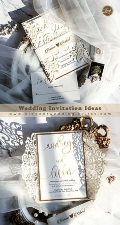 Classic Modern Ivory calligraphy laser cut wedding invites with foil printed vellum belly band EWDM011