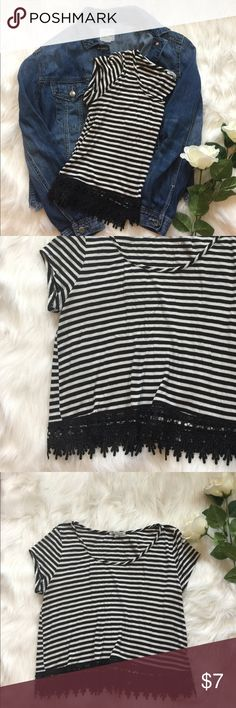💕 STRIPED BLACK AND WHITE T 💕 - Black lace detailing on bottom of shirt  - Condition : Very good  - Brand : Charlotte Russe  - Size : M  - Color : Black and White  - Original Price : 12  By the way the jean jacket is listed in my shop as well! 💕😊 Charlotte Russe Tops Tees - Short Sleeve