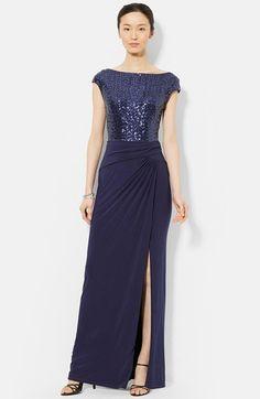 Lauren Ralph Lauren Sequin & Jersey Gown available at #Nordstrom