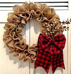 Christmas Ruffled Burlap Wreath w/ Gold Leaves Red & Black