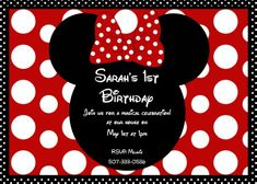 Girls CT Minnie Mouse Red Polka Dot Bow Birthday Invitation