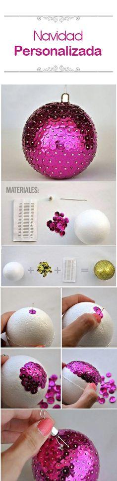 ¡Hazlo tu misma! Estas pelotas navideñas hechas con lentejuelas quedarán hermosas en tu árbol navideño.