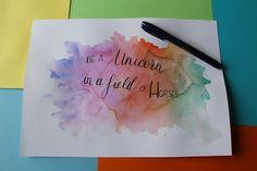 Poster licorne - calligraphique Unicorn, Bullet Journal, Scrap, Watercolor Painting, Tat, Unicorns