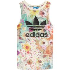 Adidas Originals Floral Print Tank (63 CAD) ❤ liked on Polyvore featuring tops, multicolor, scoop neck tank, adidas originals tank, strappy tank top, fitted tops and floral tank