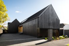 Image 1 of 22 from gallery of Gable Silhouette / Young Architects. Photograph by Dennis Radermacher Arch Architecture, Residential Architecture, Gable House, Cedar Cladding, Through The Roof, Black Exterior, Pool Houses, New Homes, Silhouette
