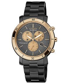 Citizen Women's Chronograph Drive from Citizen Eco-Drive Black Ion-Plated Stainless Steel Bracelet Watch 41mm FB1348-50E