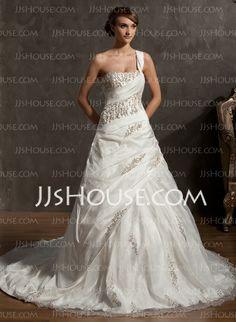 Wedding Dresses - $218.29 - Ball-Gown One-Shoulder Chapel Train Taffeta Organza Wedding Dress With Beadwork (002014884) http://jjshouse.com/Ball-Gown-One-Shoulder-Chapel-Train-Taffeta-Organza-Wedding-Dress-With-Beadwork-002014884-g14884