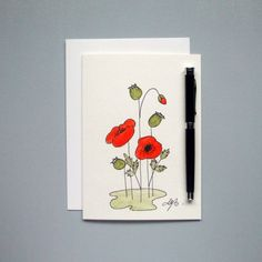 Red Poppies - Hand painted watercolor 5x7 Folded Card with envelope - Ready to ship