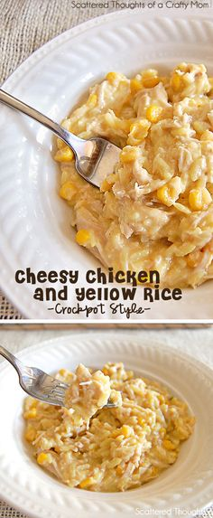 Easy Cheesy Chicken and Yellow Rice in the crock pot. (Slow Cooker Recipes) Made this for supper last night and it was AWESOME! Chicken And Rice Crockpot, Crockpot Dishes, Crock Pot Slow Cooker, Crock Pot Cooking, Slow Cooker Recipes, Crockpot Recipes, Cooking Recipes, Chicken Recipes, Casserole Recipes