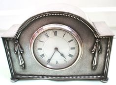 French Silver Plated Case Platform Winding Movement Timepiece Mantle Clock GWO