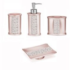 The Sinatra Bath Accessory Set brings style and elegance to your bathroom. This bath accessory set features a lotion pump, tumbler, toothbrush holder, and soap dish. Coordinate with other Sinatra bath accessories for a complete look. Bling Bathroom, Pink Bathroom Decor, Silver Bathroom, Bathroom Ideas, Neutral Bathroom, Bathroom Signs, Simple Bathroom, Bathroom Colors, Bathroom Accessories Sets