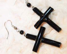 Black coral earring (cross)