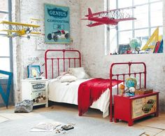 Boy room design tips; Too many pieces of furniture will make your room look cramped and smaller than it really is. A wiser move is usually to go for a couple of key furnishings in the room and improve your open space. Boys Room Decor, Bedroom Decor, Bedroom Ideas, Lego Bedroom, Boy Decor, Teen Room Designs, Red Bedding, Kid Spaces, New Room