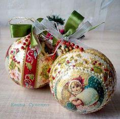 Новогодние шары. Мой декупаж и роспись