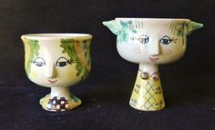 "Pair of BJORN WIINBLAD Mini 2 3/8"" & 3"" Head Face Vases 1972 Danish Denmark Modern Nymolle"