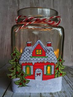 stamping and stitching: Snowy House Jar