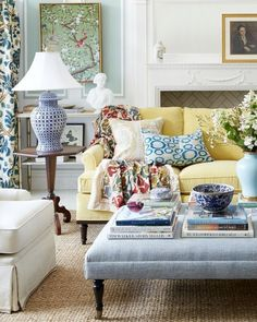 Will An All Blue and White Home Look Weird? - laurel home | love this eclectic but classic living room