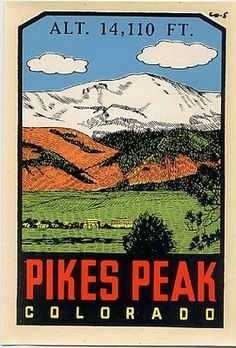 Vintage pikes peak colorado state souvenir travel water window decal original