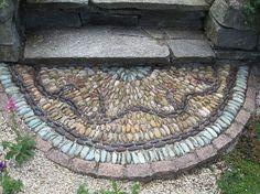 Garden - gardening - half moon mosaic pebble step from commonweeder.com