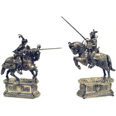 Sterling Silver Pair Of Mounted Knights In Armor. www.EstateSilver.com. Fantastic selection of decorative and usable antique silver