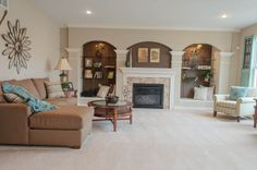 Built in fireplace and shelving