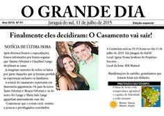 Convite de casamento em formato de jornal  Papel Glossy(fotografico) 230Gr e temos no Papel Mate (sem brilho)220Gr ensacado com Tag e fita de cetim .